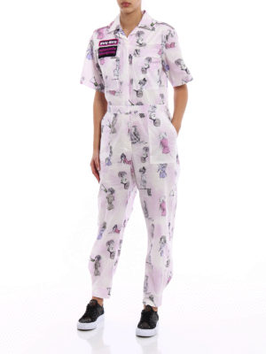 Miu Miu: jumpsuits online - Cotton poplin jumpsuit with patches