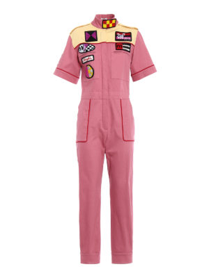 Miu Miu: jumpsuits - Patches detailed denim jumpsuit