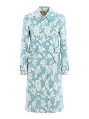 Miu Miu: knee length coats - Daisy cloqué overcoat