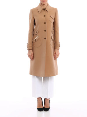 Miu Miu: knee length coats online - Tricotine wool overcoat