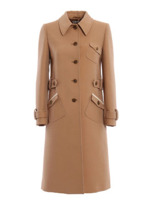 Miu Miu: knee length coats - Tricotine wool overcoat