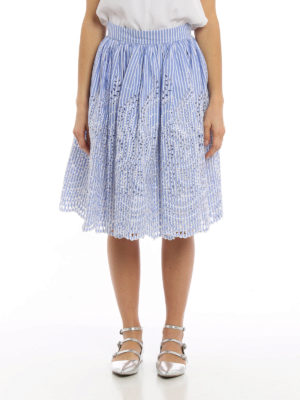 Miu Miu: Knee length skirts & Midi online - Striped broderie anglaise skirt