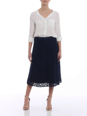 Miu Miu: Knee length skirts & Midi online - Tech floral broderie anglaise skirt