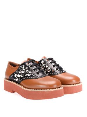 Miu Miu: lace-ups shoes online - Studded bicolour leather lace-ups