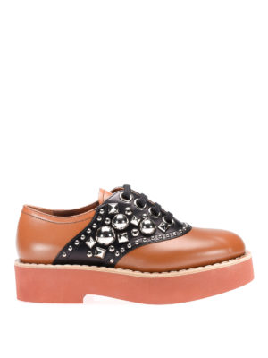 Miu Miu: lace-ups shoes - Studded bicolour leather lace-ups