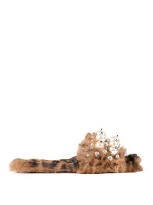 Miu Miu: Loafers & Slippers - Lapin fur jewel slippers