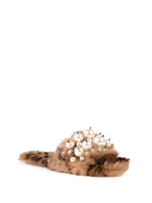 Miu Miu: Loafers & Slippers online - Lapin fur jewel slippers