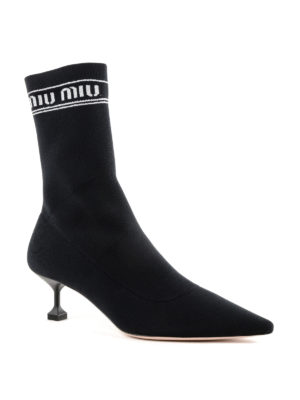 MIU MIU: stivali online - Stivali slip-on a calza in tessuto stretch