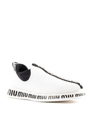 MIU MIU: sneakers online - Slip-on in tessuto a rete con applicazioni