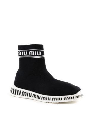 MIU MIU: sneakers online - Slip-on alte a calza in tessuto stretch