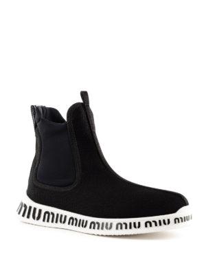MIU MIU: sneakers online - Slip-on a calza in tessuto stretch a rete