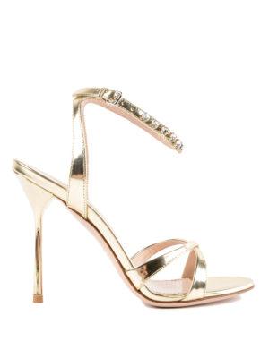 MIU MIU: sandali - Sandali alti dorati con cinturino gioiello