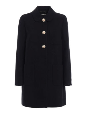 Miu Miu: short coats - Jewel cady overcoat