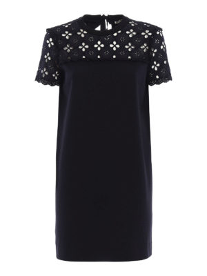 Miu Miu: short dresses - Broderie anglaise and jersey dress