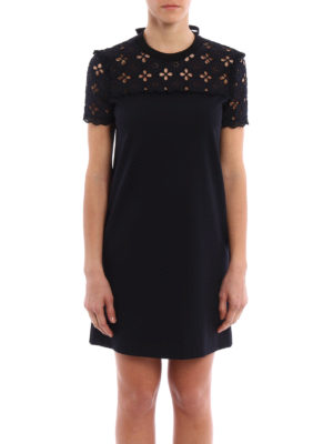 Miu Miu: short dresses online - Broderie anglaise and jersey dress