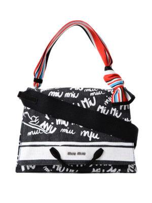 Miu Miu: shoulder bags - Logo print denim bag