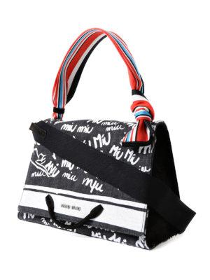 Miu Miu: shoulder bags online - Logo print denim bag