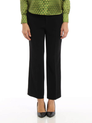 Miu Miu: Tailored & Formal trousers online - Wide leg detail cady trousers