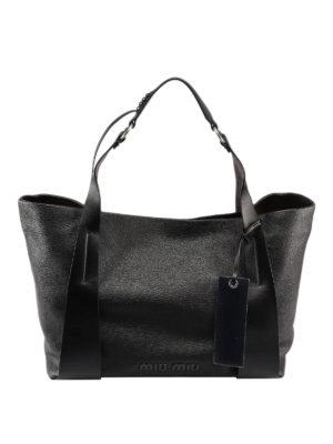 MIU MIU  shopper - Shopper in pelle di capra testurizzata nera 5142099c0bbb0