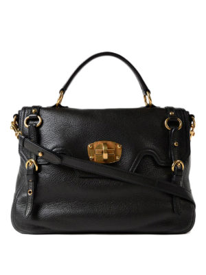 Miu Miu: totes bags - Leather bag with turn-lock closure