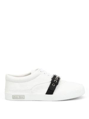 Miu Miu: trainers - Contrasting buckle napa sneakers