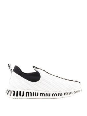 MIU MIU: sneakers - Slip-on in tessuto a rete con applicazioni