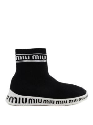 MIU MIU: sneakers - Slip-on alte a calza in tessuto stretch