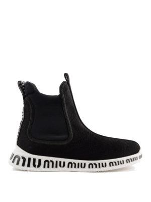 MIU MIU: sneakers - Slip-on a calza in tessuto stretch a rete