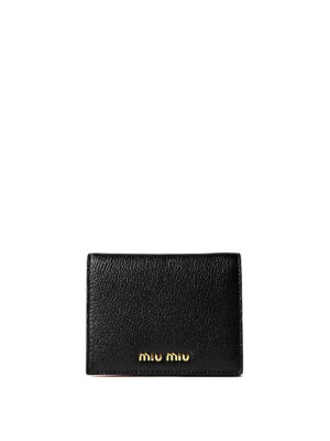Miu Miu: wallets & purses - Black and red leather bifold wallet