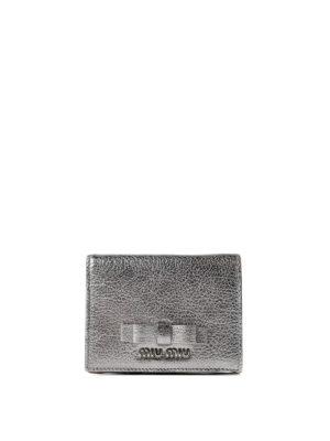 Miu Miu: wallets & purses - Bow detail leather bifold wallet