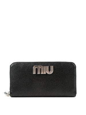 MIU MIU: portafogli - Portafoglio continental in pelle con logo