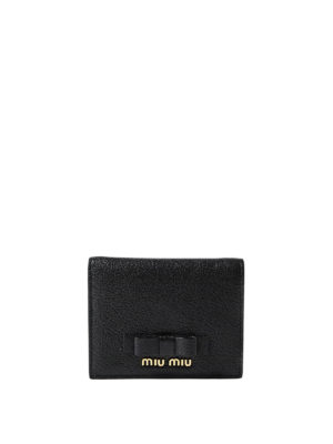 Miu Miu: wallets & purses - Leather bifold wallet with bow
