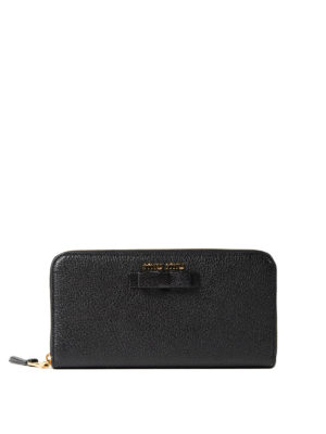 Miu Miu: wallets & purses - Leather zip-around wallet with bow