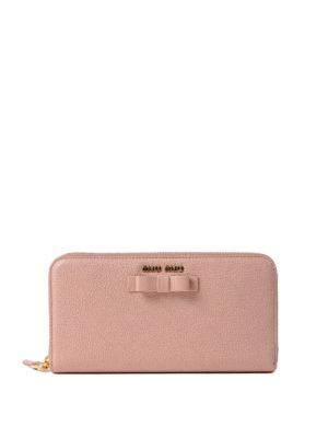 Miu Miu: wallets & purses - Leather zip around wallet with bow