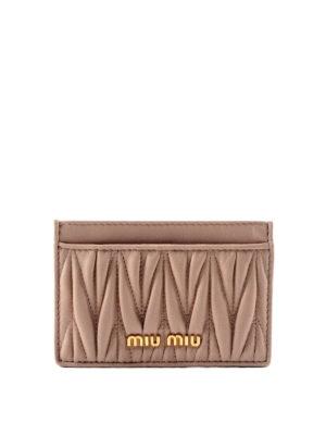 Miu Miu: wallets & purses - Matelassé leather card holder
