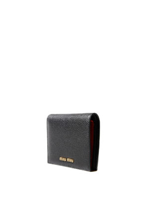 Miu Miu: wallets & purses online - Black and red leather bifold wallet