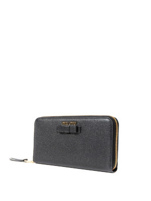 Miu Miu: wallets & purses online - Leather zip-around wallet with bow