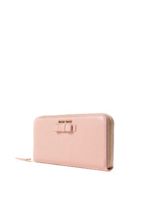 Miu Miu: wallets & purses online - Leather zip around wallet with bow