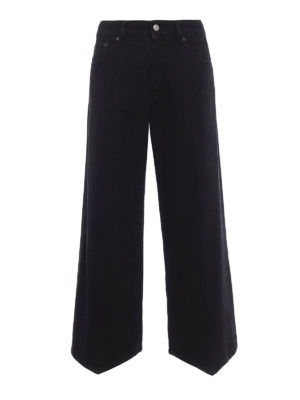 MM6 Maison Margiela: flared jeans - Black denim flared jeans