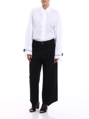 MM6 Maison Margiela: flared jeans online - Black denim flared jeans