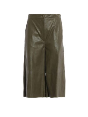 MM6 Maison Margiela: leather trousers - Faux leather crop wide leg pants