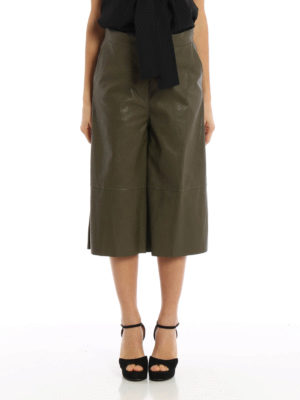 MM6 Maison Margiela: leather trousers online - Faux leather crop wide leg pants