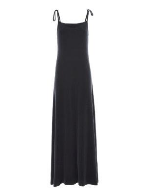 MM6 Maison Margiela: maxi dresses - Straight line design cupro dress