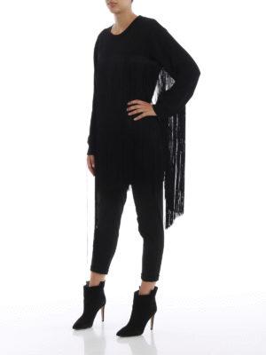 MM6 MAISON MARGIELA: Felpe e maglie online - Felpa lunga nera in cotone con maxi frange