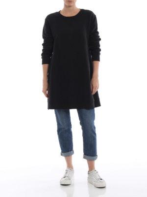 MM6 MAISON MARGIELA: Felpe e maglie online - Felpa oversize nera con spacchi esagerati