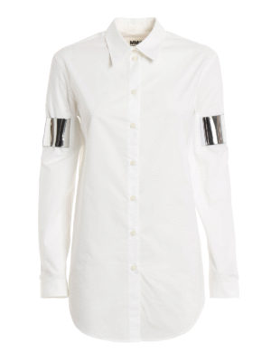 MM6 Maison Margiela: shirts - Mirror arm cuff detailed shirt