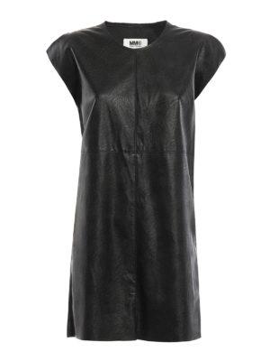 MM6 Maison Margiela: short dresses - Faux leather oversize dress