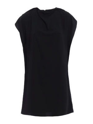 MM6 Maison Margiela: short dresses - Front drapery short cady dress