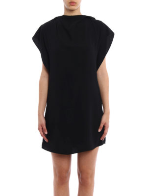 MM6 Maison Margiela: short dresses online - Front drapery short cady dress