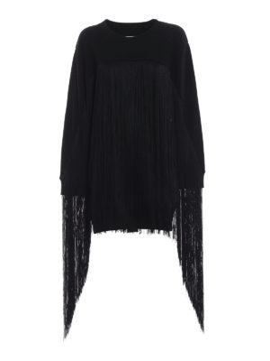 MM6 MAISON MARGIELA: Felpe e maglie - Felpa lunga nera in cotone con maxi frange